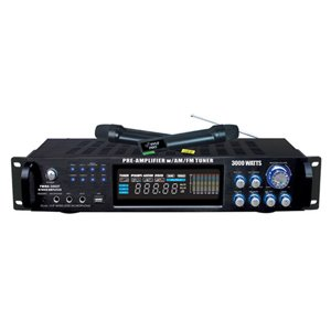 Pyle PWMA3003T 3000W Hybrid Pre Amplifier with AM/FM Tuner/USB/Dual Wireless Mic $140.99