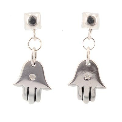 Hamsa Hand with 1pt Diamond Gemstone Dangle Earrings in Sterling Silver on Domed Square Post, #7699