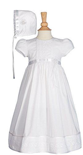 "23"" Girls Cotton Dress Christening Gown Baptism Dress with Lace and Ribbon 6M"