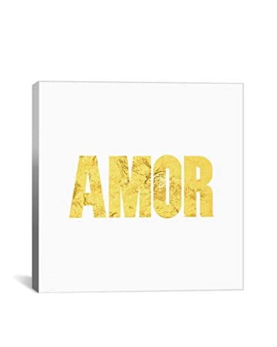 Love International Amor Yellow On White Gallery Wrapped Canvas Print