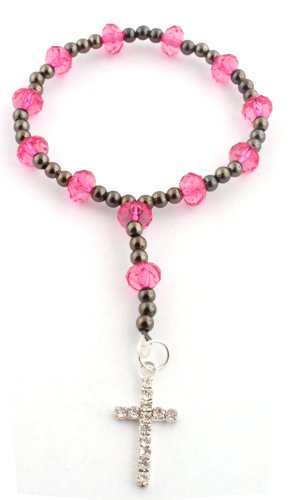 Pink with an Iced Out Cross Crystal Style Adjustable Beaded Bracelet Shamballah