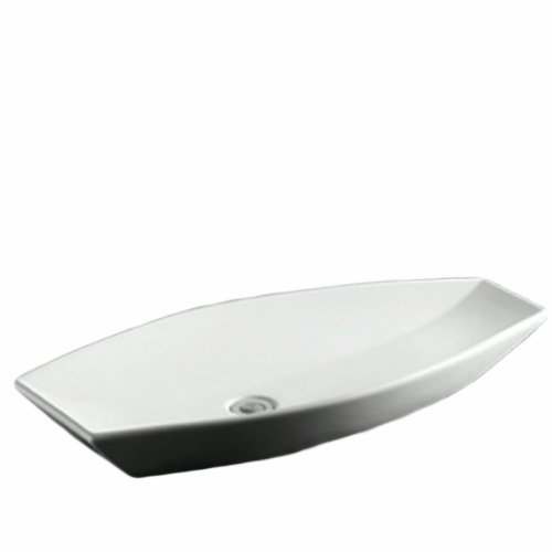 Whitehaus WHKN1086-WH Isabella 31-Inch Oval Above Counter Lavatory Basin with Offset Center Drain and No Overflow, White