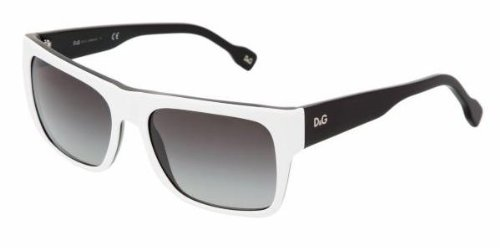 D&g By Dolce & Gabbana Unisex 3044 White On Black Frame/Grey Gradient Lens Plastic Sunglasses