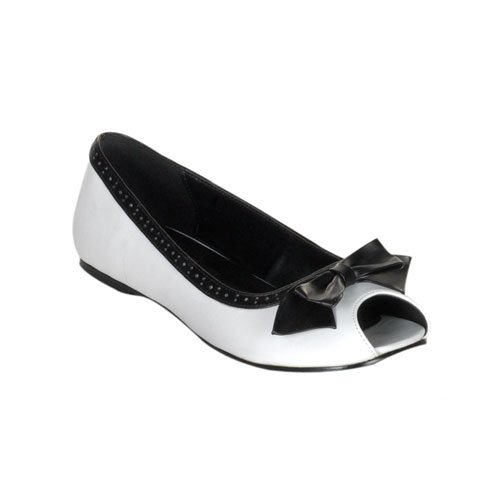 DAISY-64 Womens Ballet Flats With Peep Toe With Bow Cute Teen Shoes Juniors Black Red White PU PLEASER