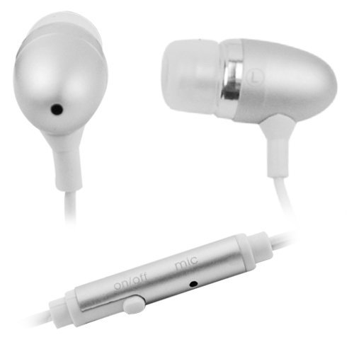 Gtmax Silver 3.5Mm Metal Stereo Headset Handsfree Soft Gel Earbud With Microphone For At&T Lg Encore Gt550