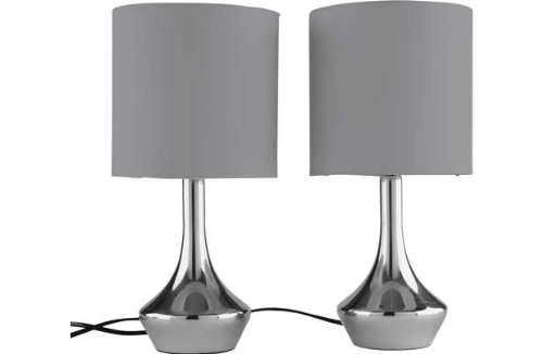 colourmatch pair of touch table lamps smoke grey ebay. Black Bedroom Furniture Sets. Home Design Ideas