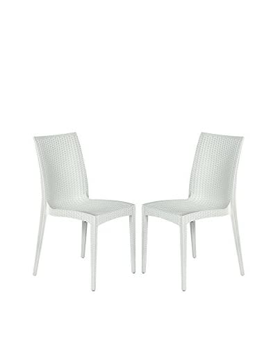 LeisureMod Set of 2 Modern Weave Design Mace Indoor/Outdoor Dining Chairs, White