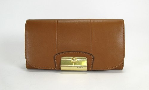 Coach Kristin Leather Checkbook Wallet 43670 (Brown)