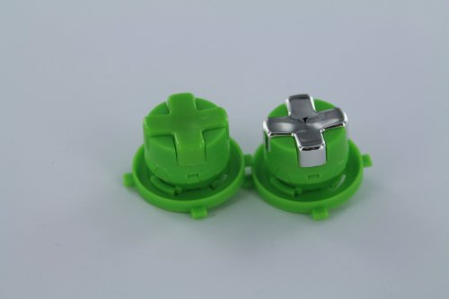Chrome Silver W/ Green Transforming D-Pad For Xbox 360 Controller (Rotating D-Pad)
