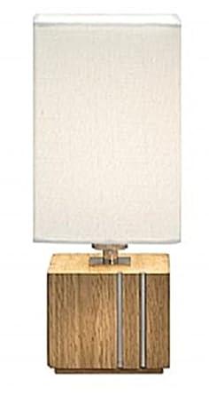 Markslojd Milton Square Base Table Lamp, Oak and Steel, White Shade