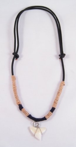 One New Adjustable Guys Leather & Hemp Shark Tooth Necklace