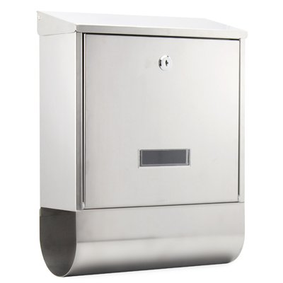 Arboria Stainless Steel Postbox & Newspaper Holder, White Metal Mail Letter Box