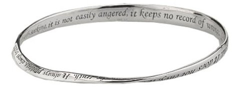 "Sterling Silver ""Love Is Patient, Love Is Kind"" Twisted Bangle Bracelet"