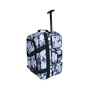 24 Pour Moi Lightweight Floral Wheeled Holdall Trolley Bag Case Black