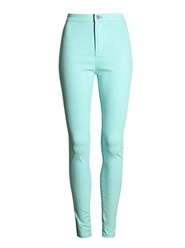 Baymate Donna Matita Pantaloni Stirata Sottili Delle Ghette Pantaloni dei Pantaloni Verde Acqua M