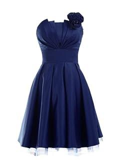 Landybridal A-line Knee Length Satin Bridesmaid Dress E22464 L Dark Navy Blue