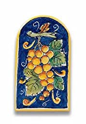 Hand Painted Arch-shaped Grape Tile From Italy
