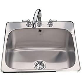Kindred QSL2225/12N/3 Three Hole Single Bowl Sink, Stainless Steel
