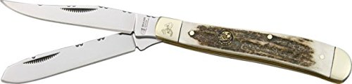 Frost Beaver Creek Trapper Folding Knife,Stainless Clip And Spey Blade, Stag Handle Bvr508Ds