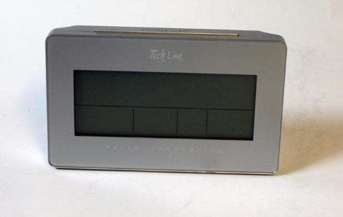 Tech Line LCD Funk Wecker Funkwecker mit Mondpahse Datum Temperatur Kalender silber