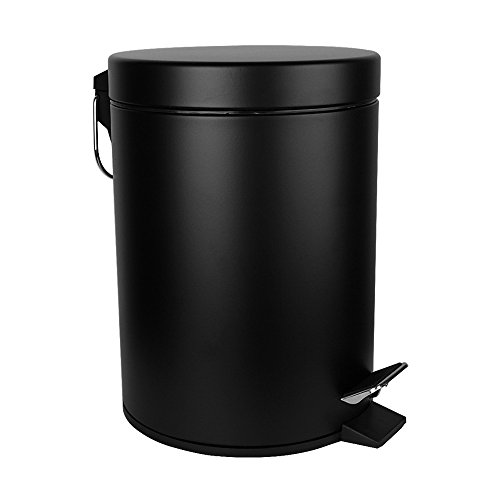 Malmo FE43003LB Small Carbon Steel Round Step Trash Can, 3L/0.8Gallon, Black (Designer Trash Can compare prices)