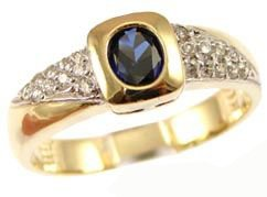 14k Yellow Gold White Rhodium, Modern Design Ring with Lab Created Oval Shape Navy Blue Colored Stone