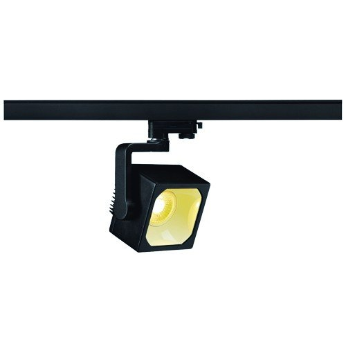SLV LED 3-Phasen Strahler Euro Cube, 28,5W, 3000 K, 60 Grad, inklusiv Adapter, schwarz 152750