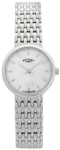 Ladies Sterling Silver Rotary Quartz/Battery Watch on Bracelet with Mother of Pearl Dial. Ref LB20900/41.