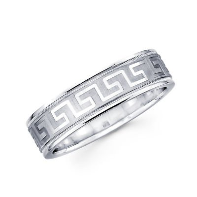 Solid 14k White Gold Womens Mens Greek Design Satin Polish Milgrain Wedding Ring Band 6MM Size 12