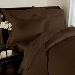 Solid Chocolate 300 Thread Count Attached Queen Size Waterbed Sheet Set With Pole Attachements 100% Egyptian Cotton By Sheetsnthings front-1019357