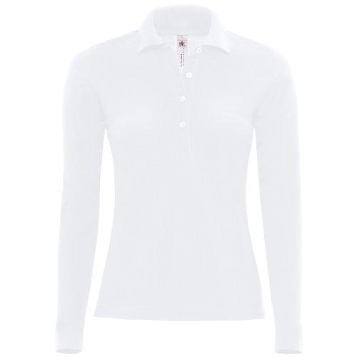 B&C - Polo Manica Lunga 100% Cotone - Donna (XXL) (Bianco)