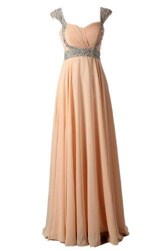 Dressystar Long Peach Chiffon Prom Bridesmiad Dress for Women Size 16