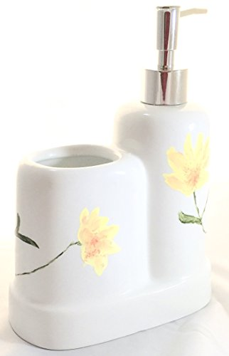hand-painted-porcelain-yellow-flowers-1-piece-combo-soap-or-lotion-pump-and-toothbrush-holder