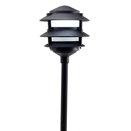 Cast Aluminum 3 Tier Pagoda Pathway Light w/ Frosted Glass Jar PAT3R (Black) (3 8 Npt Bushing compare prices)