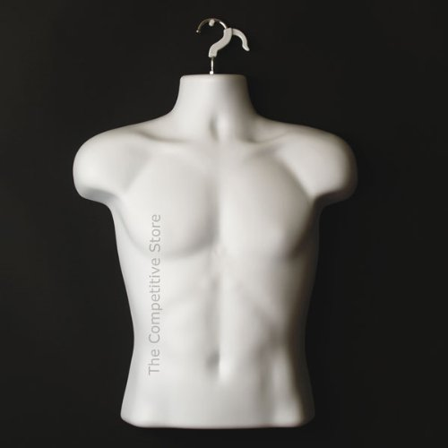Male Torso Body Mannequin Form (Waist Long) - Great For Small And Medium Sizes - White