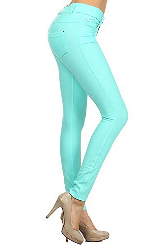 Enimay Women's Colored Jean Look Jeggings Tights Spandex Leggings Yoga Pants Turquoise Small (Turquoise Pants compare prices)