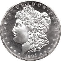 1884 S Morgan Silver Dollar MS 65