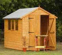 8' x 6' Wooden Garden Shed Heavy Duty Double Door Apex Roof Shiplap Wood 10 Year Anti Rot Guarantee