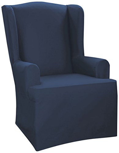 Sure Fit Cvc Canvas Wing Chair Slipcover, Navy front-932142