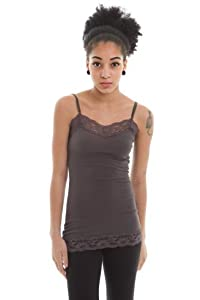 Zenana Womens Lace Trim Camisole Layering Tank,Small,Dark Prada