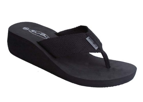 New Starbay Brand Women'S Black Wedge Canvas Thong Sandal Flip Flops Size 9 front-687212