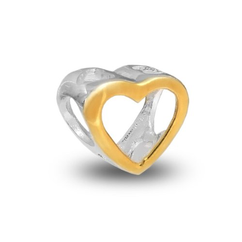 Bling Jewelry 925 Silver Gold Open Heart Bead Pandora Chamilia Biagi Compatible