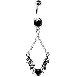 Black Gem Heart Dragon Belly Ring