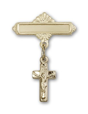 Gold Filled Baby Badge with Crucifix Charm and Polished Badge Pin