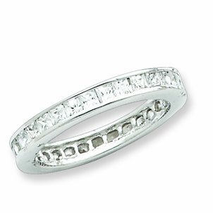 Sterling Silver Cz Eternity Band, Size 7