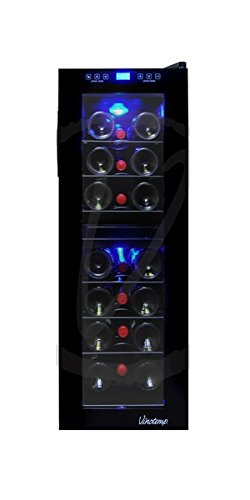 Vinotemp 21-Bottle Dual-Zone Touch Screen Wine Cooler, Black