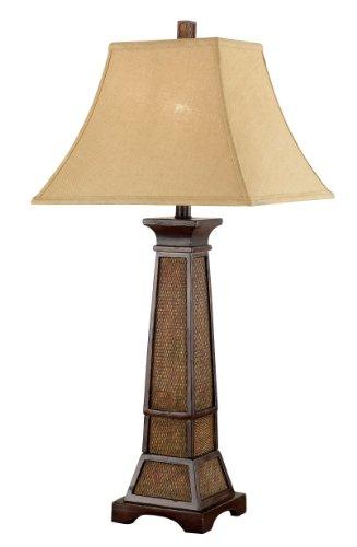 Kenroy Home 20530WTR Ellis Table Lamp, Weathered Teak Rattan