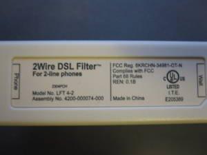 2wire dsl filter for 2 line phone model lft 4. Black Bedroom Furniture Sets. Home Design Ideas