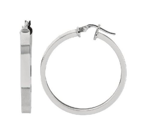 .925 Sterling Silver Square Edge Round Tubular Hoop Earrings Shiny Hoops 35X3mm