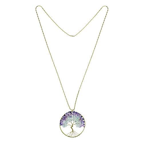 Eternal Tree of Life Brass Necklace Purple Green Fluorite Stone